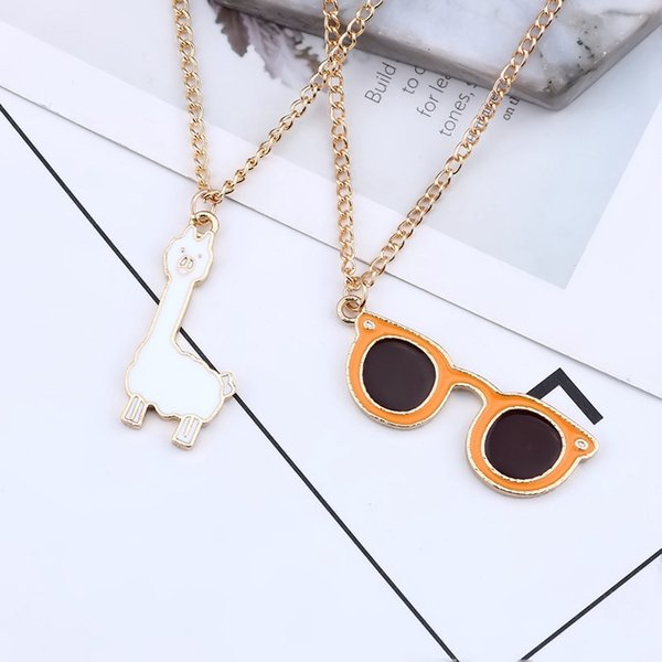 kawaii chain necklace gold tone plated oil drop cute animal sheep sunglasses enamel alloy metal pendant charms girl necklaces, Silver