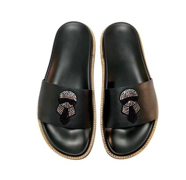TX Genuine leather men flip flops outdoor sandals rhinestone designer casual man slippers Slides Hombre 38-45