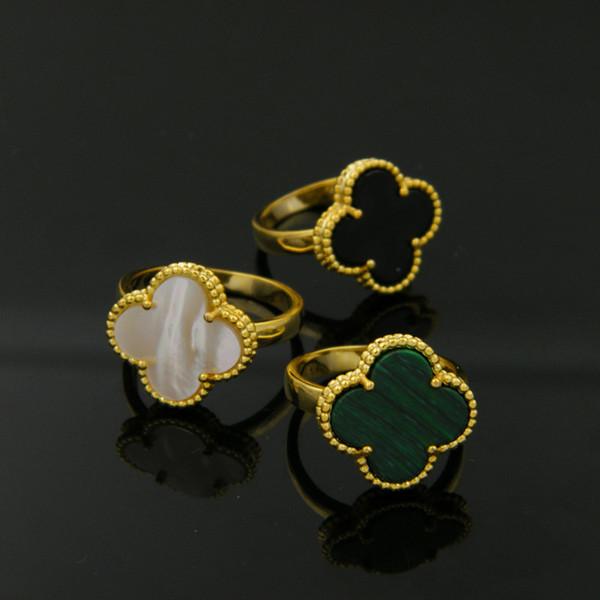 Klasik Dört Yapraklı Yonca Yüzük kadınlar için Sarı Altın gümüş siyah Beyaz aşk Yüzük Çiçek Flora Kore Takı Kadın
