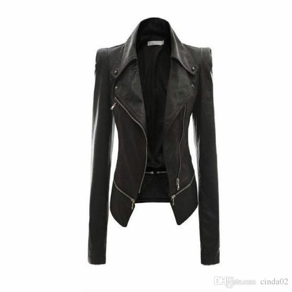 best selling Wholesale- Women Leather Jacket Rivet Zipper Motorcycle Jacket Turn Down Collar chaquetas mujer Argyle pattern Leather Jacket S-3XL