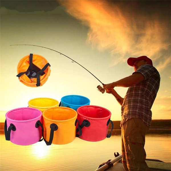5 Colors Fishing Bucket 11L Waterproof Storage Portable Folding Outdoor Bucket For Camping Fishing Hiking Durable Container Buckets 4918