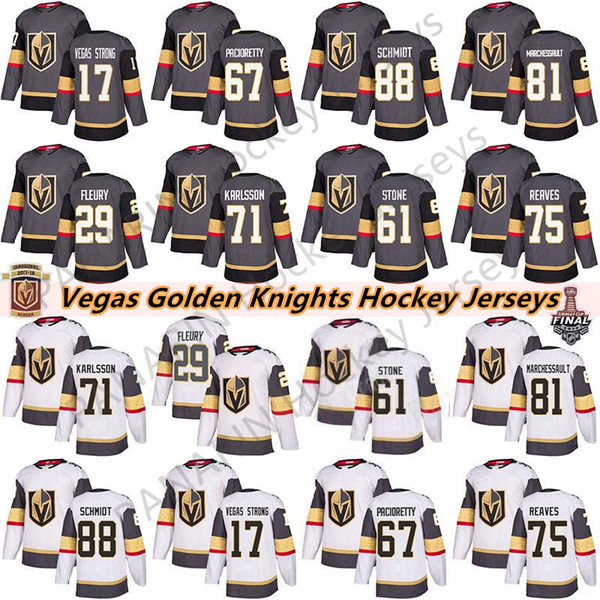 best selling Vegas Golden Knights 29 Marc-Andre Fleury 75 Ryan Reaves 71 William Karlsson 61 Mark Ston 67 Max Pacioretty Mens Kids Women Hockey Jerseys