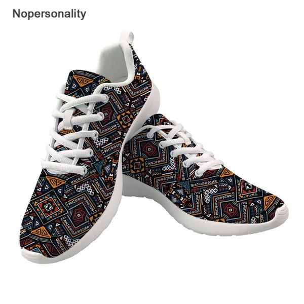 Nopersonality Afrika Kente Baskı Kadınlar Rahat Ayakkabılar Kadın Hafif Düz Örgü Ayakkabı Bayanlar Platformu Moda Sneakers