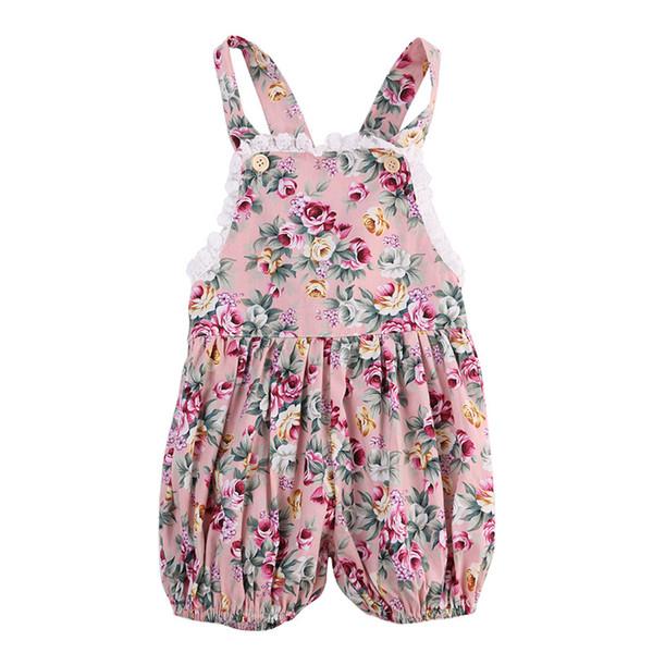 2020 más nuevo bebé caliente del bebé del verano del cordón del mameluco de la ropa recién nacidos los bebés floral sin mangas del mono sin espalda sunsuit