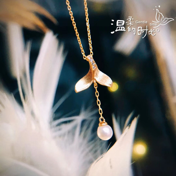 Pearl Pendant Chain necklace Gold Jewelry 18k Yellow Solid Gold Setting natural diamond Necklace fine jewelry for Women Factory wholesale