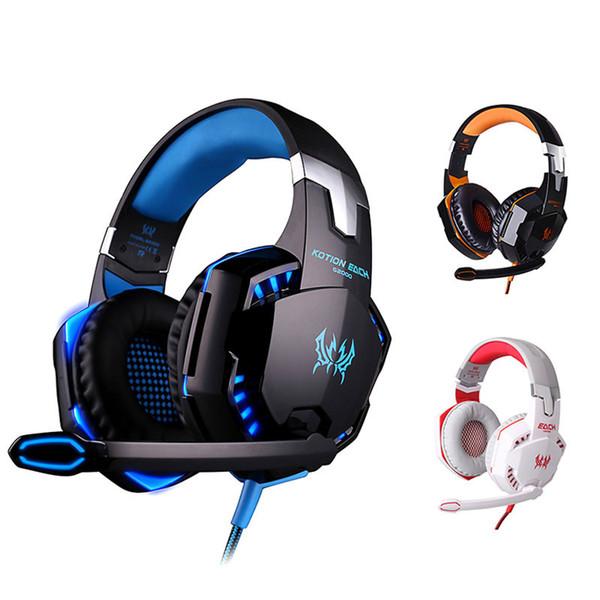KOTION EACH G2000 Juego para colocar sobre las orejas Auriculares Auriculares Auriculares Diadema con micrófono Estéreo Bajo Luz LED para juego de PC