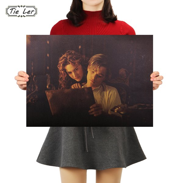 TIE LER Titanic Poster Nostalgic Classic Movie Kraft Paper Poster Retro Kraft Paper Painting Decor Wall Sticker 51.5X36cm
