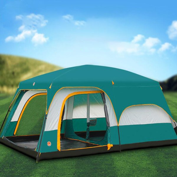 430cm*305cm*200cm Large Camping Tents 10-12 Person Two Bedrooms 1 Hall Large Outdoor Family Party Camping Tent
