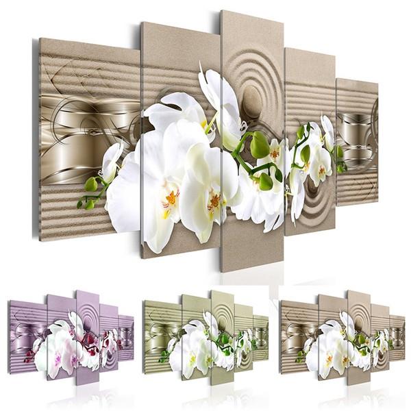 Hd Wall Art Canvas Painting 5 Pieces Zen Orchid Flower Современные украшения дома, выберите цвет (фиолетовый, зеленый, красный) и размер: 3
