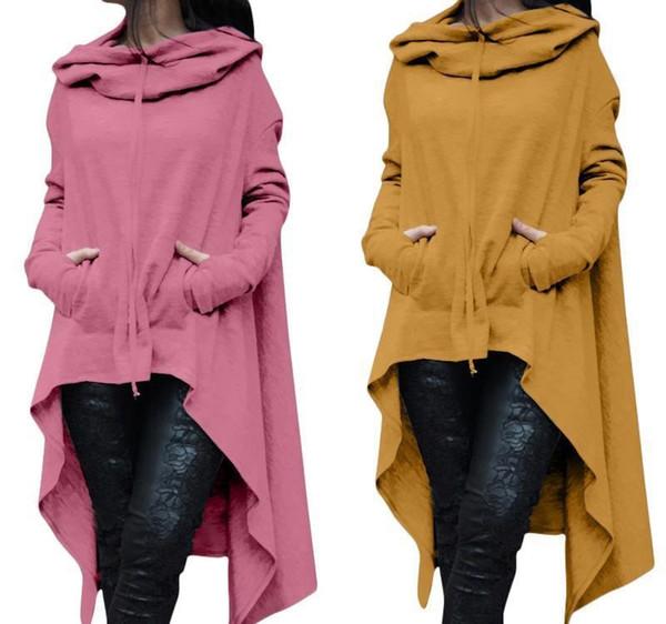 Womens Plus Size Oversized Fashion Loose Hoodie Dress Long Jumper Hooded Tops Casual Sweatshirt Sweater Asymmetric Hoodies S-5XL