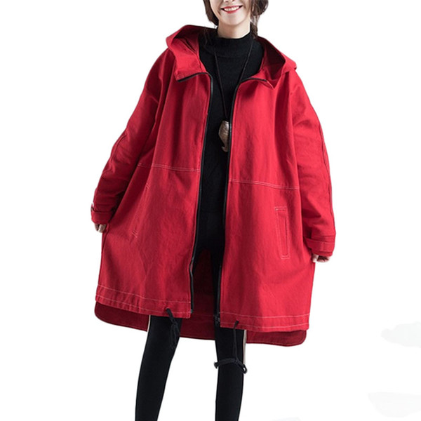 Novo vaqueiro Windbreaker casaco Mulheres Primavera Outono Solto Com Capuz Trench coats Zipper Cardigan casacos das Mulheres Fundação maré