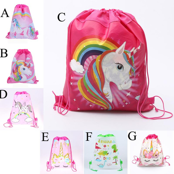 top popular Unicorn Drawstring bag for Girls Travel Storage Package Cartoon School Backpacks Children Birthday Party Favors Outdoor Travel Bags C22 2019