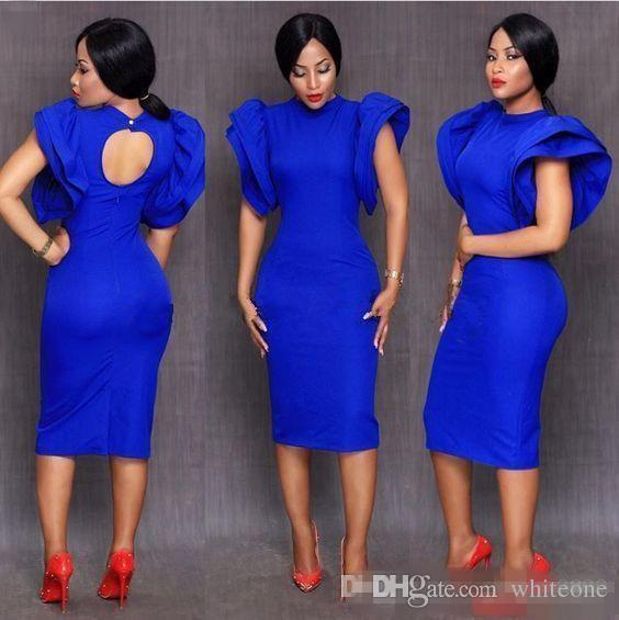 Elegant Royal Blue Cocktail Dresses New Cap Sleeve Party Dresses Short High Neck Unique Design Short Prom Gowns Sweet 16 Evening Gowns