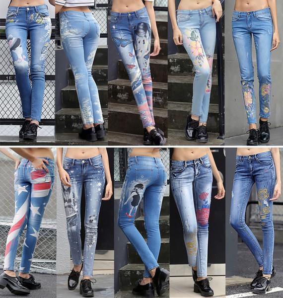 Alta qualità dei pantaloni dei pantaloni della matita di stampa dei fiori dei pantaloni dei jeans delle modo-donne per modo delle signore Trasporto libero