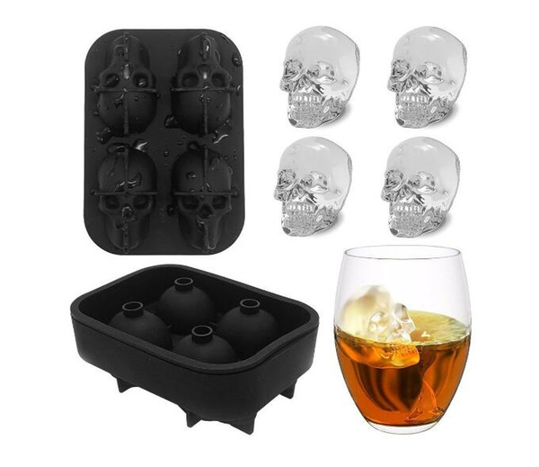 3D quadruple skull ice lattice Creative ice hockey for Party bars Silica gel skull ice moulds Funny Toys