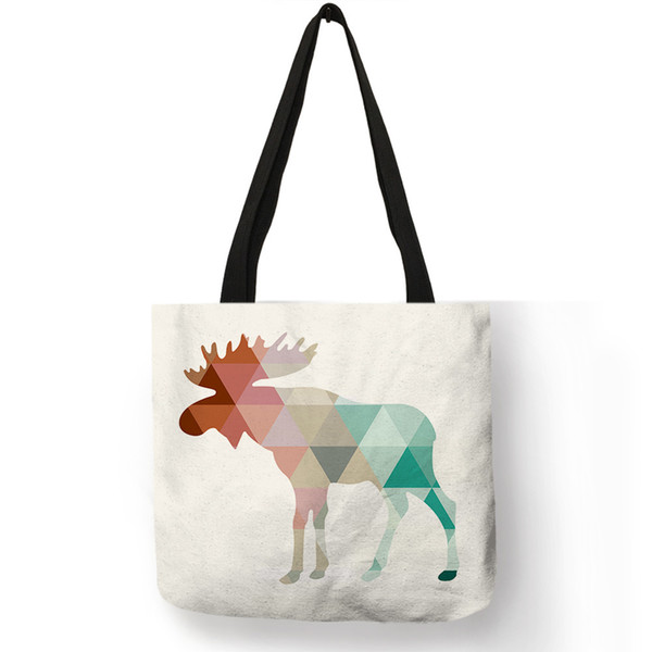 Simple Pattern Casual Women Men Shoulder Bag Animal Geometric Deer Antlers Printing Tote Bags Large Capacity Storage Handbag