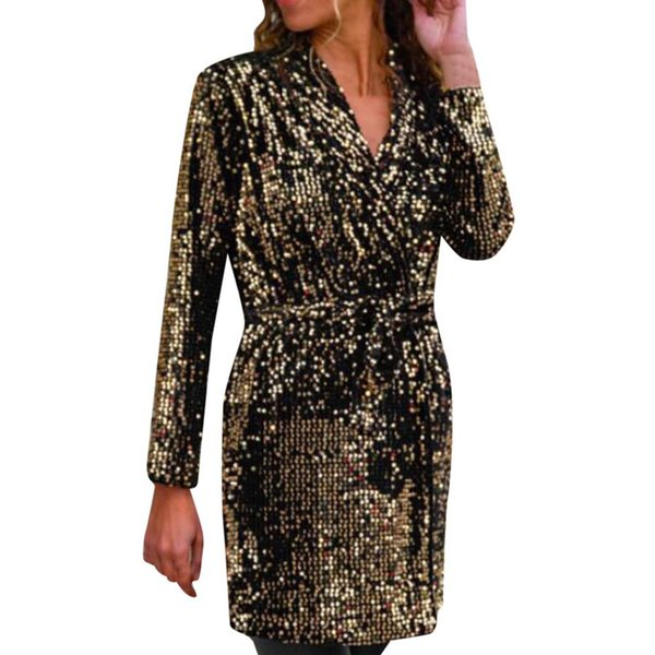 Fashion Solid Sequin Coats Women Long Sleeve Loose Clubwear Party Coat With Belt Long Cardigan Jacket Mujer Roupas /PT