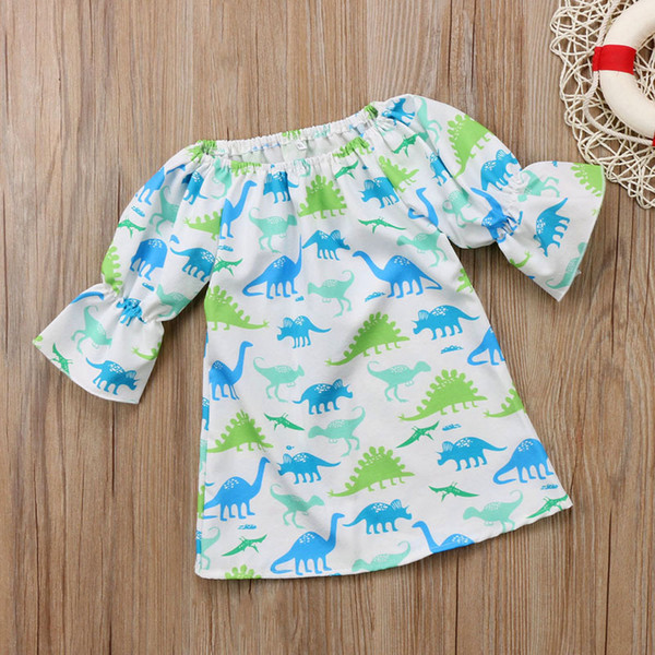 kids baby girls flare sleeve dresses summer new brand baby dinosaur print dress kids soft cotton dress
