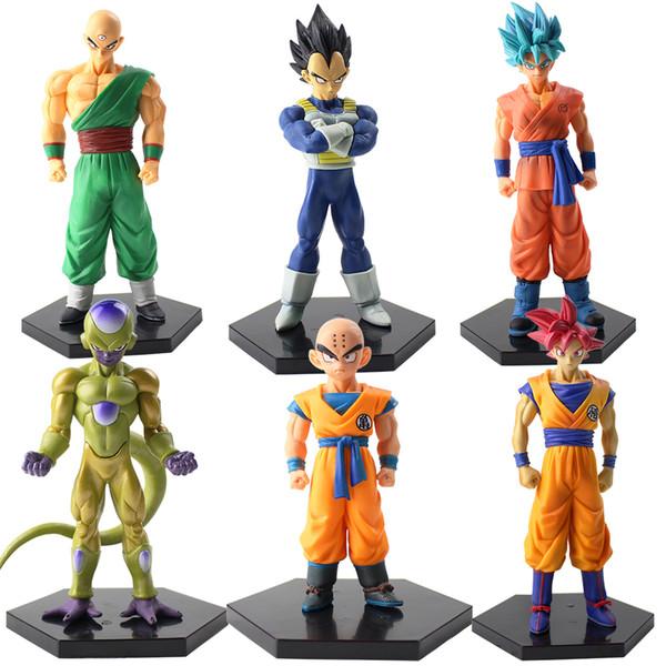 6 adet / grup 10-17 cm Dragon Ball Z Son Goku Kulilin Tien Shinhan Vegeta Frita Kulini Tien PVC Action Figure Model Oyuncak siyah taban modeli ile oyuncak