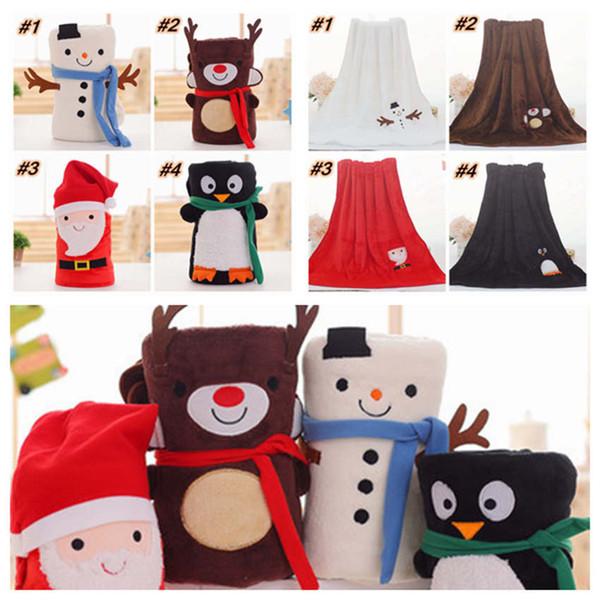 best selling Cartoon Christmas Flannel Blanket Foldable Santa Claus Snowman Penguin Deer Pattern Carpet Washable Keep Warm Soft Throw Blankets ZZA1473