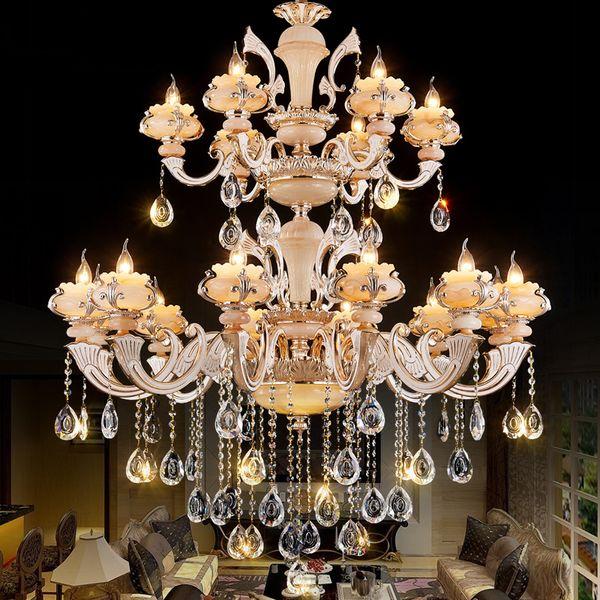 modern chandelier pendant light Golden star ceiling Led lamps European crystal chandelier Duplex stair grand church hotel Living room lights