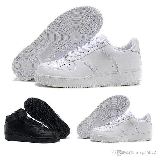 CORK For MenWomen High Quality One 1 zapatos casuales Low Cut All White Color Negro Zapatillas de deporte casuales Tamaño US 5.5-12