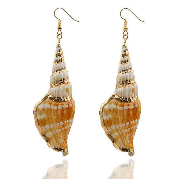 Europeus e Americanos estilo boêmio moda requintada pesquisa concha natural Hualuo modelagem shell brincos senhoras Variedade styling jóias