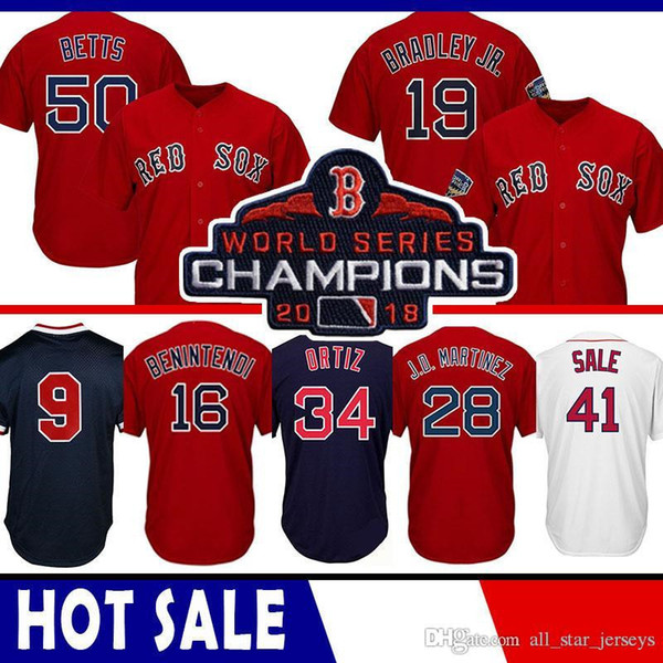 41 Chris Sale Boston Kırmızı Beyzbol Forması Sox 50 Mookie Bahisleri 34 David Ortiz 28 JD Martinez 19 Jackie Bradley Jr. 15 Pedroia Benintendi CGRF