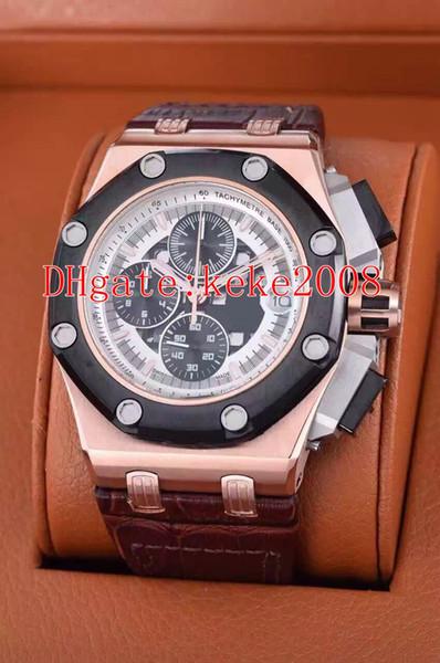 6 relojes de pulsera de calidad superior N8 de fábrica 42mm Offshore 226078 26078IO.OO.D001VS.01 Bandas de cuero VK Cronógrafo de cuarzo Reloj para hombre Relojes
