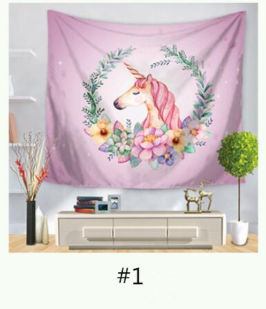150*130cm Unicorn Printed Fashion Tapestry Wall Hanging Tapestry For Wall Decoration Beach Towel Yoga Picnic Mat Sofa Cover Bedsheet Window