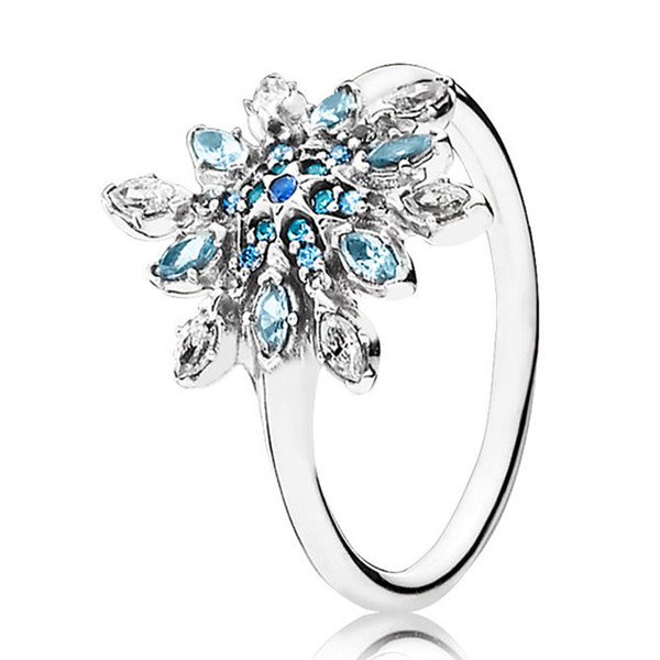 779717c98 Authentic 925 Sterling Silver Crystallised Snowflake With Crystal Rings For Women  Wedding Party Gift fit Lady