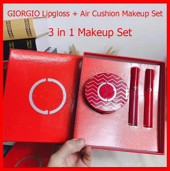 2020 nuovo trucco Set GIORGIO 3pcs / set opaco Lipgloss liquido Rossetto cuscino d'aria di Natale 3 in 1 insieme labbro Cosmetics