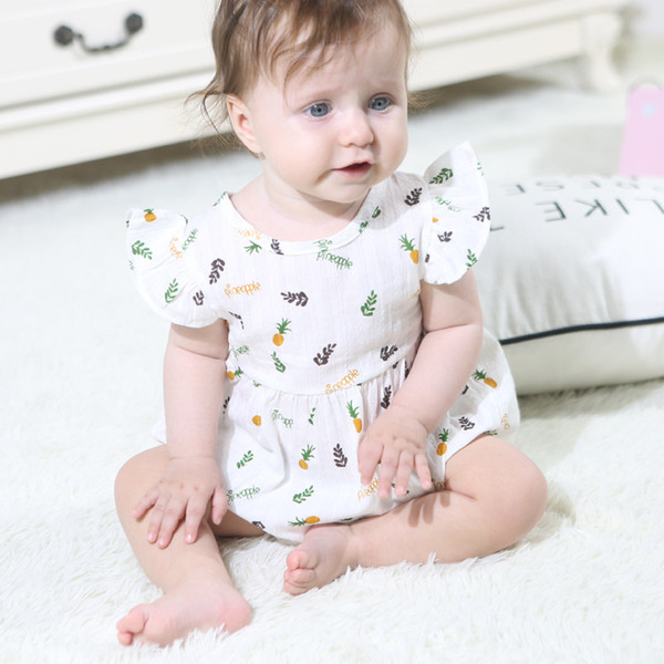 Baby Romper INS 2019 Summer Girl Fly Sleeve Pineapple Printed Triangle Climb Clothes Infant Bodysuit Kids Jumpsuits 2 Color Q6