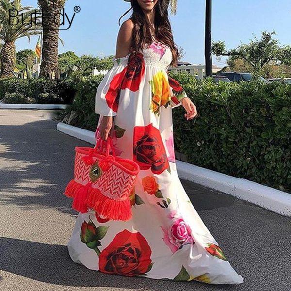 Print Big Red Floral Flower Long Floor-length Maxi Women 2019 Sexy Strapless Summer Beach Dress Boho Bohemian Sundress C19041101