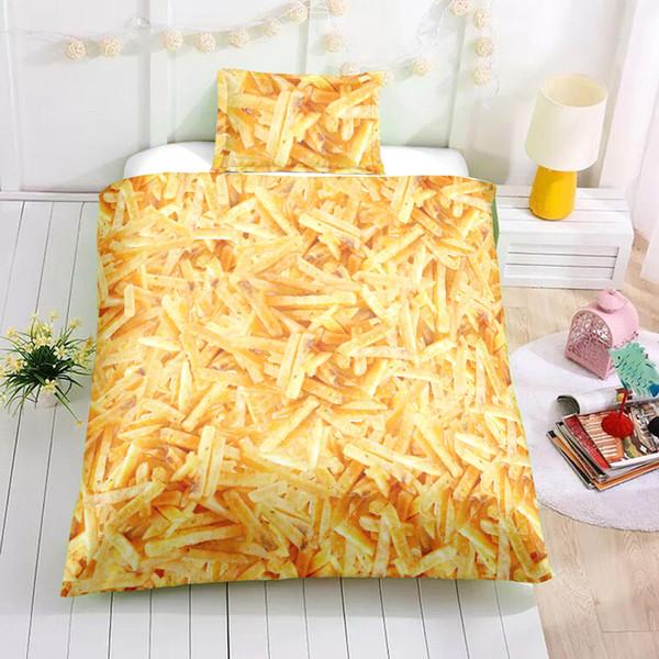 Set di biancheria da letto con stampa di cibo Twin Creative French Fries Funny 3D Duvet Cover Single Double Full King Queen Copriletto con federa 3 pezzi