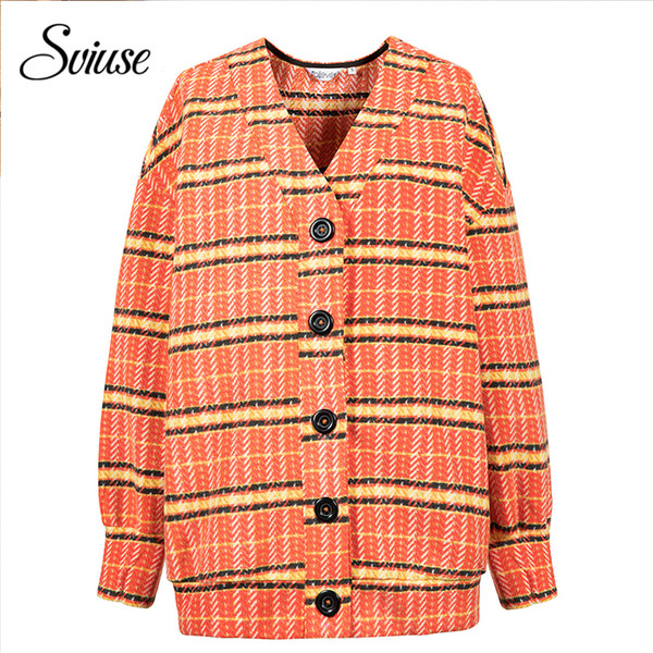 Women Plaid Knitted Cardigans Elegant Vintage Single Breasted Oversized Loose Sweater Cardigans Autumn Winter Female Jumper 2018