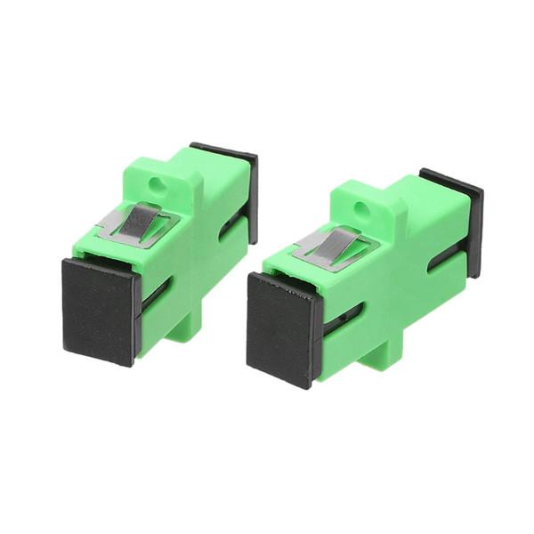 200 unids / lote SC APC Adaptador Conector Conector Simplex Solo modo Adaptador de fibra óptica de plástico SM
