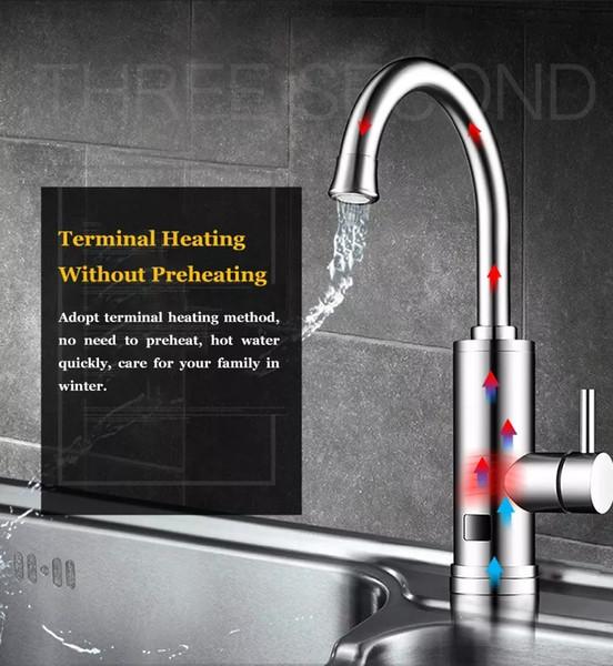 Pantalla sin tanque 220V 3000W Calentador eléctrico de agua instantáneo grifo del fregadero caliente Fría Calefacción Tap Digital