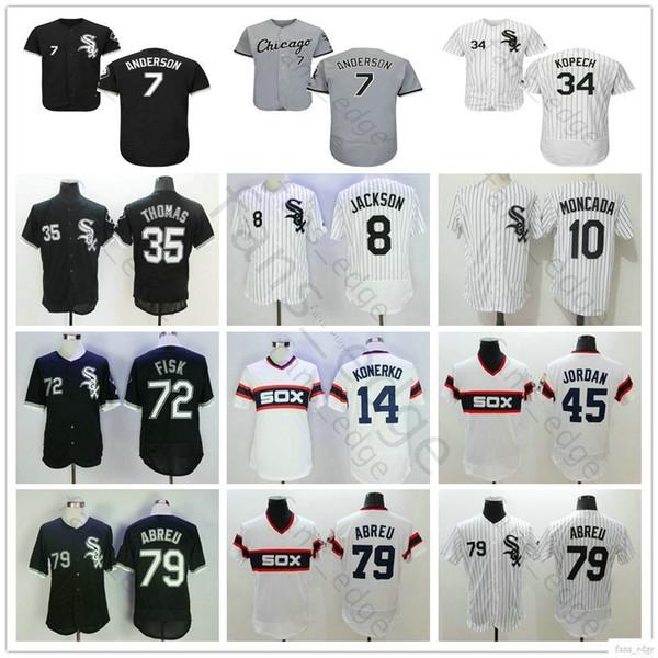 Cosido Chicago # 7 Tim Anderson 10 Moncada 34 Michael Kopech 35 Frank Thomas 72 Carlton Fisk 79 José Abreu Camisetas de béisbol de los White Sox de José Abreu