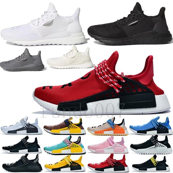 con caja 2019 más nuevos humanos pharrell williams race zapatos de diseñador hombres mujeres zapatillas de deporte hu chaussures carreras hombres lujo 20188172 #