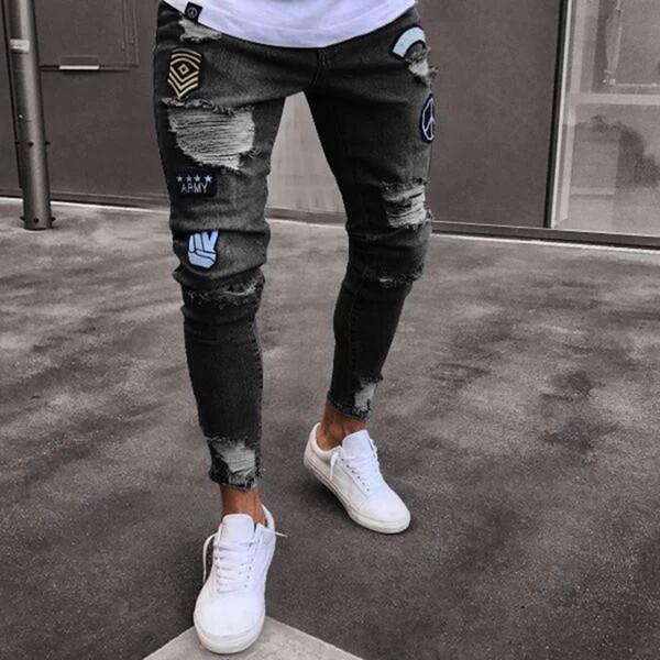Jeans Jeans nuovi Designer Uomo Moda Distressed Zipper Ripped Jeans Mens Designer Skinny Biker Pantaloni Hip Hop Denim Pantaloni blu