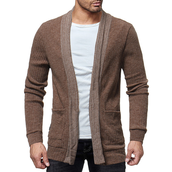good quality 2019 Brand Men's Jackets Sweater Cardigan Wild Color Knit Shirt Long Sleeve Overcoat For Male Jacket Clothing