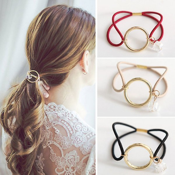 Women Girl Headwear Round Circle With Crystal Gum Ornament Elastic Hair Bands Woman Metal Rubber Hair Braider Hair Styling Tool