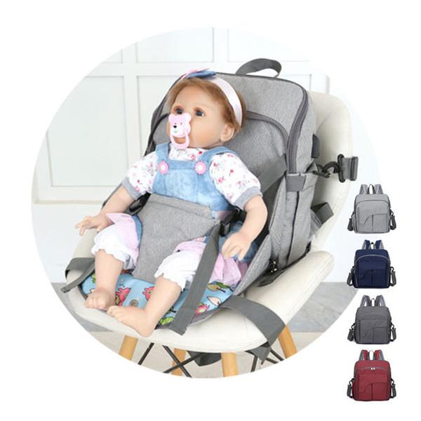 Interfaz USB Bolsa de pañales con cojín del cinturón de seguridad Bolsa de momias Bolsas grandes de pañales Mochila de enfermería portátil Cuidado del bebé Bolsas de cochecito
