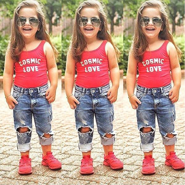 Toddler Enfants Bébé Filles T-shirt Tops + Jeans Pantalons Tenues D'été Vêtements 2PCS Ensemble