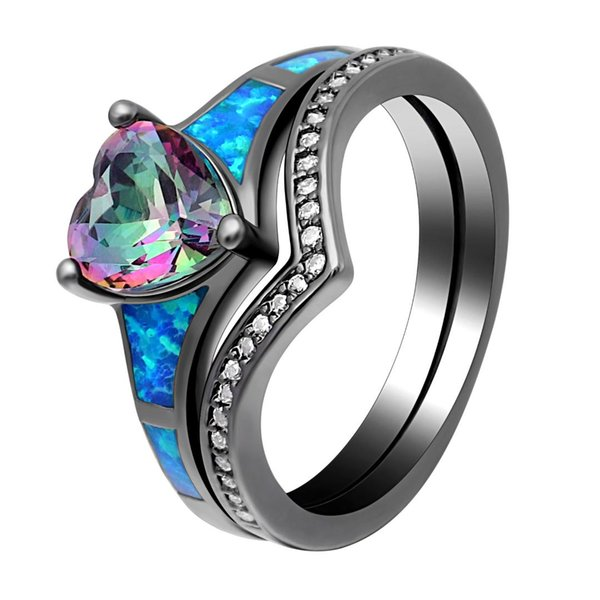 Seanlov 2pc Heart Fire Opal Rings Women Vintage Fashion Jewelry Engagement Black Gold Filled Rainbow Blue Birthstone Ring Sets