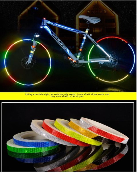 best selling 1CM*8M Night Light Safety Equipment Bicycles Motorcycles Wheels Body Reflective Stickers Reflective Warning Self-adhesive Tape