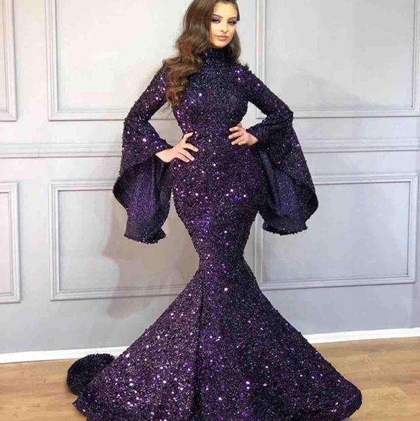 Arabe bling bling Sparkly pourpre pailleté sirène robes de bal de Bell Poet manches balayage train perles Robes de soirée Pageant Robe
