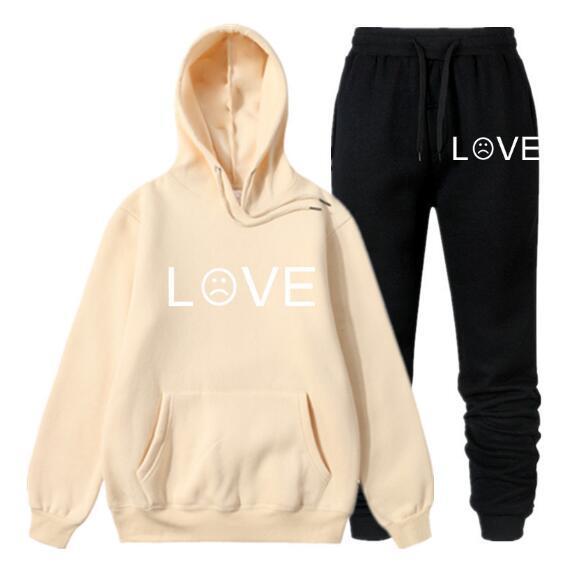 Хип-хоп модный бренд одежды любовь балахон Мужчины США популярные рэп-певица кофты с капюшоном брюки мужской спортивный костюм QJT04