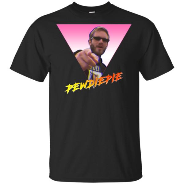 Erkekler-Kadınlar Yüksek Kaliteli Tee Gömlek için Pewdiepie Tişört Retro Pewdiepie Tişört Siyah-Lacivert